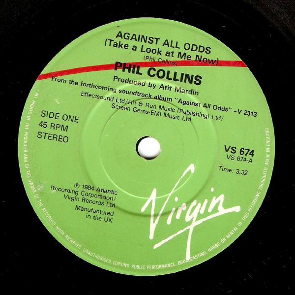 PHIL COLLINS Against All Odds Vinyl Record 7 Inch Virgin 1984